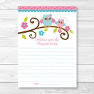 Pink Woodland Owl Printable Baby Shower Mommy Advice Cards #A162