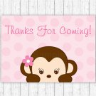 Pop Monkey Pink Party Favor Thank You Tags #A167