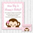 Pop Monkey Pink How Big Is Mommys Belly Baby Shower Game #A167