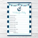Nautical Anchor Printable Baby Shower Wishes For Baby Advice Cards #A222