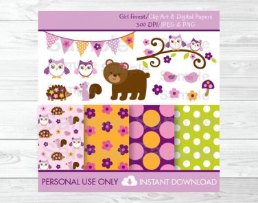 Girl Owl Bear Squirrel Woodland Forest Friends Clipart & Digital Paper #A250