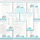 Teal Chevron Elephant Baby Shower Games Pack - 8 Printable Games #A374