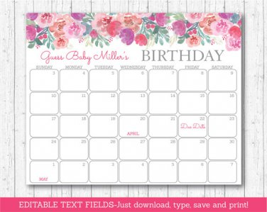 Pink Watercolor Flowers Baby Due Date Calendar Editable PDF #A385