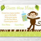 "Wildlife Jungle Animals Baby Shower ""Guess How Many?"" Game Cards #A236"