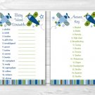 """Airplane Little Aviator Printable Baby Shower """"Baby Word Scramble"""" Game Cards #A112"""