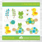 Frog Turtle Duck Snail In The Pond Clipart #A158