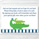 Preppy Alligator Printable Baby Shower Book Request Cards #A157
