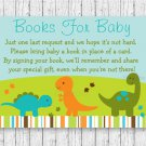 Baby Dinosaurs Printable Baby Shower Book Request Cards #A264