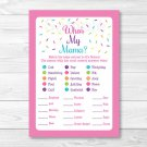 Pink Baby Sprinkle Baby Shower Baby Animal Match Game Printable #A357
