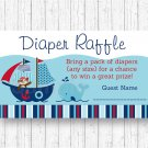 Nautical Pirate Monkey Whale Printable Baby Shower Diaper Raffle Tickets #A287