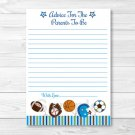 Sports Football Baseball Soccer Printable Baby Shower Mommy Advice Cards #A119