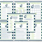 Nautical Anchor Blue & Green Baby Shower Games Pack - 8 Printable Games #A394