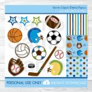 Sports All Star Football Baseball Soccer Basketball Clipart & Digital Paper #A119