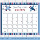 Airplane Baby Due Date Calendar Editable PDF #A155