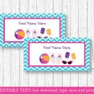 Girls Pool Party Buffet Tent Cards & Place Cards Editable PDF #A349