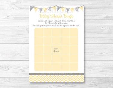 Yellow Chevron Printable Baby Shower Bingo Cards #A356