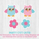 Pink Owl Party Cutouts Decorations Printable #A162