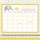 Yellow Chevron Elephant Baby Due Date Calendar Editable PDF #A181
