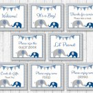 Navy Blue & Grey Chevron Baby Shower Table Signs - 8 Printable Signs #A373