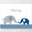 Navy Blue & Grey Chevron Elephant Thank You Card Printable #A373
