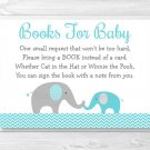 Teal Chevron Elephant Printable Baby Shower Book Request Cards #A374