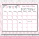 Modern Pink Chevron Printable Baby Due Date Calendar Editable PDF #A127