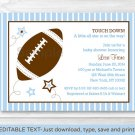 Football All Star Blue Printable Baby Shower Invitation Editable PDF #A119
