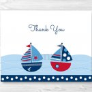 Nautical Sailboat Blue & Red Thank You Card Printable #A123