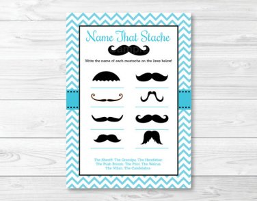 """Little Man Mustache Chevron Printable """"Name That Mustache"""" Baby Shower Game #A376"""
