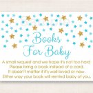 Twinkle Star Blue & Gold Glitter Printable Baby Shower Book Request Cards #A391