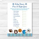 "Sports Football Baseball Printable Baby Shower ""Price Is Right!"" Game Cards #A119"