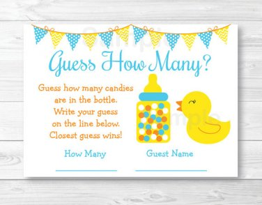 "Rubber Duck Baby Shower ""Guess How Many?"" Game Cards #A367"