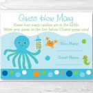 "Blue Under The Sea Baby Shower ""Guess How Many?"" Game Cards #A237"