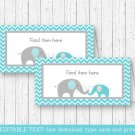 Teal Chevron Elephant Buffet Tent Cards & Place Cards Editable PDF #A374