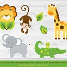 Bright Safari Jungle Animals Party Cutouts Decorations Printable #A170
