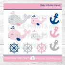 Pink Nautical Whale Clipart #A235