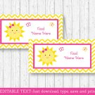 You Are My Sunshine Chevron Buffet Tent Cards & Place Cards Editable PDF #A261