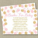 Blush Pink & Gold Glitter Dots Printable Baby Shower Book Request Cards #A380