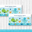 Blue Under The Sea Buffet Tent Cards & Place Cards Editable PDF #A237