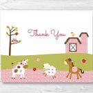 Pink Farm Animals Thank You Card Printable #A318