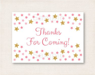 Twinkle Star Pink & Gold Glitter Party Favor Thank You Tags #A358