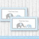 Blue Chevron Elephant Buffet Tent Cards & Place Cards Editable PDF #A187