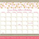 Blush Pink & Gold Glitter Dots Printable Baby Due Date Calendar Editable PDF #A380