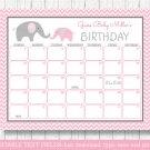 Pink Chevron Elephant Printable Baby Due Date Calendar Editable PDF #A186