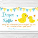Little Rubber Duck Printable Baby Shower Diaper Raffle Tickets #A367