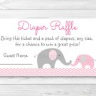 Pink Chevron Elephant Printable Baby Shower Diaper Raffle Tickets #A186