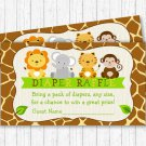 Cute Jungle Safari Animals Printable Baby Shower Diaper Raffle Tickets #A398