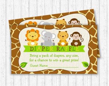 Cute Jungle Safari Animals Printable Baby Shower Diaper Raffle Tickets #A398