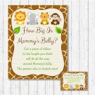 Cute Jungle Safari Animals How Big Is Mommys Belly Baby Shower Game #A398