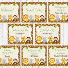 Cute Jungle Safari Animals Baby Shower Table Signs - 8 Printable Signs #A398